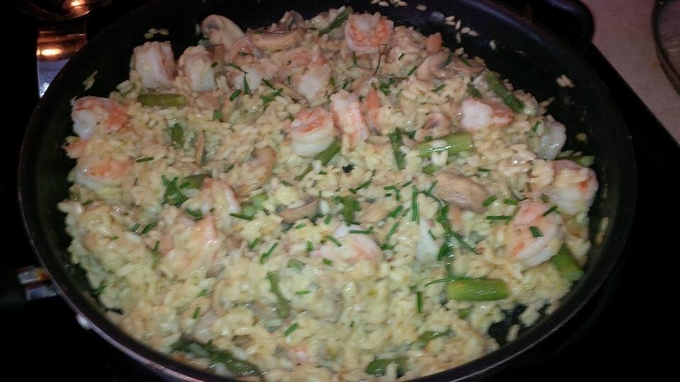 Shrimp, Mushroom and Asparagus Risotto - Beth Warren the Baker